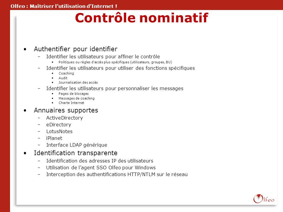 Contrôle nominatif Authentifier pour identifier Annuaires supportes