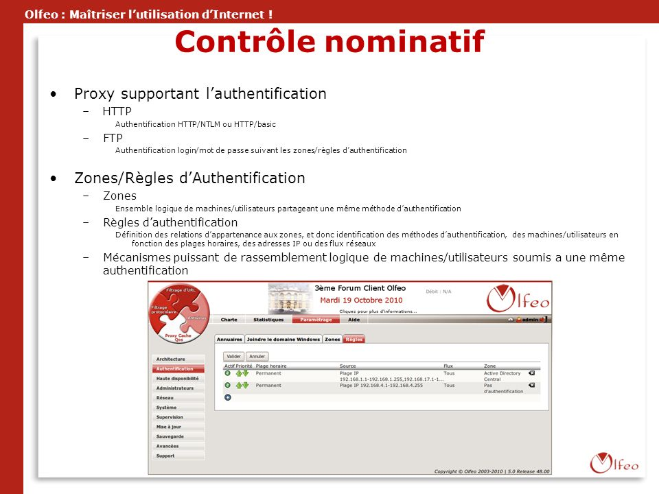Contrôle nominatif Proxy supportant l'authentification