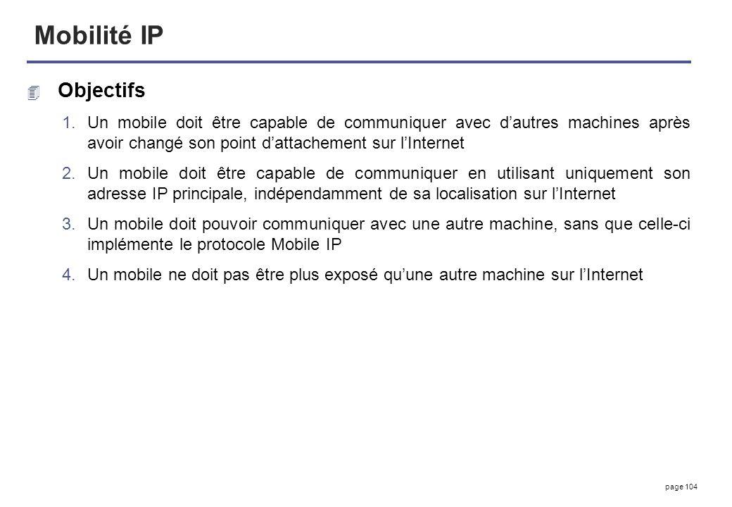 Mobilité IP Objectifs. Un mobile doit être capable de communiquer avec d'autres machines après avoir changé son point d'attachement sur l'Internet.