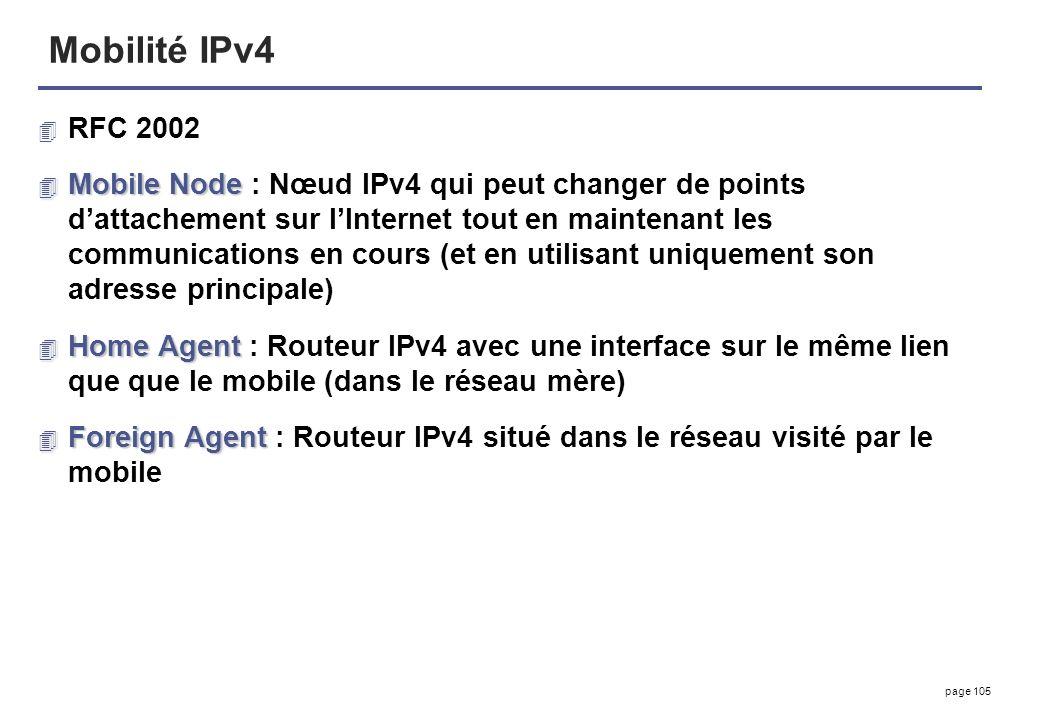 Mobilité IPv4 RFC 2002.