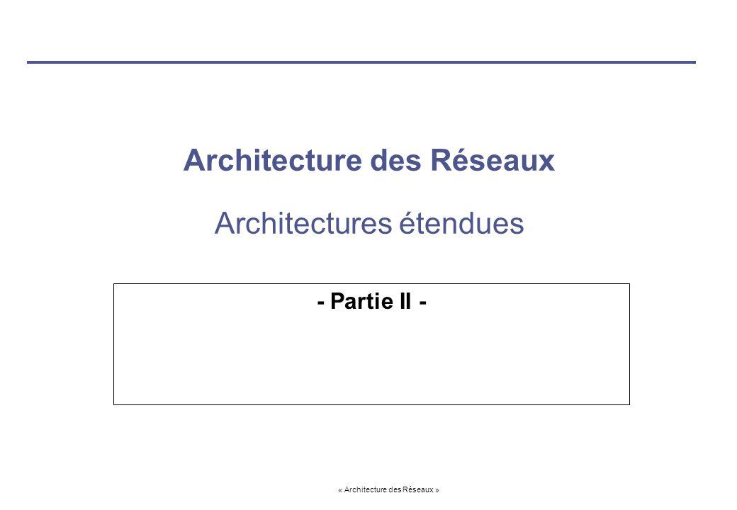 Architecture des Réseaux Architectures étendues
