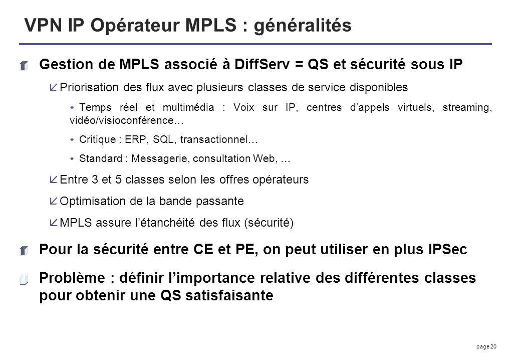 VPN IP Opérateur MPLS : généralités