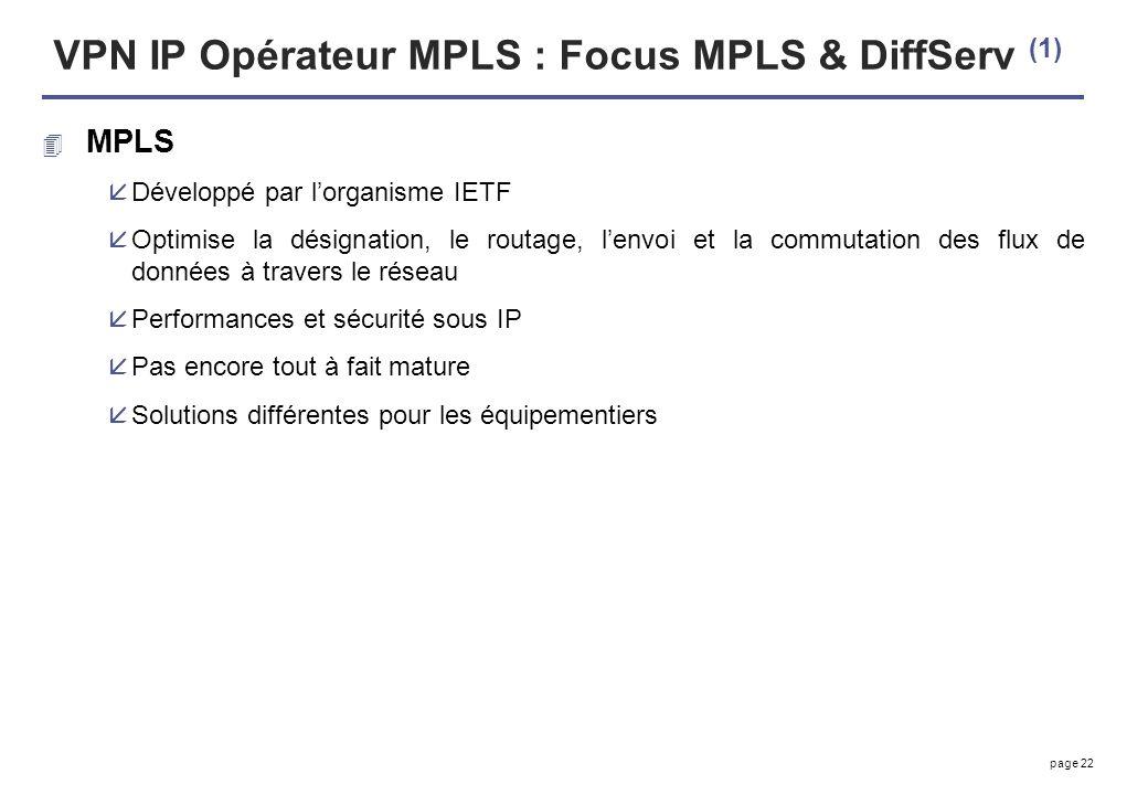 VPN IP Opérateur MPLS : Focus MPLS & DiffServ (1)