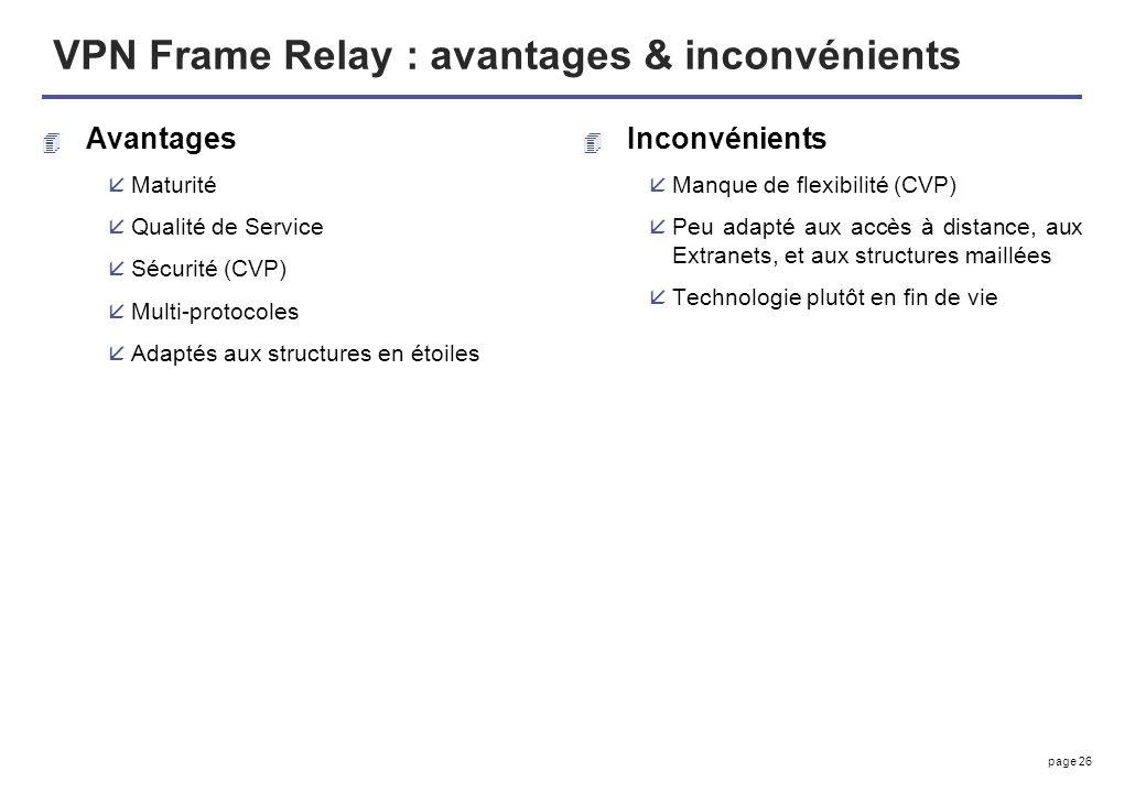 VPN Frame Relay : avantages & inconvénients
