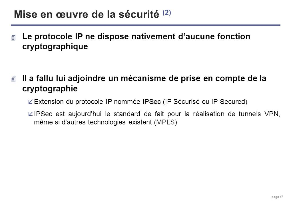 Mise en œuvre de la sécurité (2)