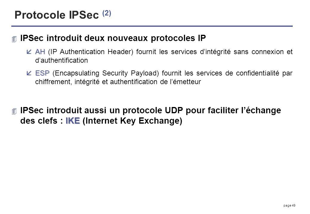 Protocole IPSec (2) IPSec introduit deux nouveaux protocoles IP