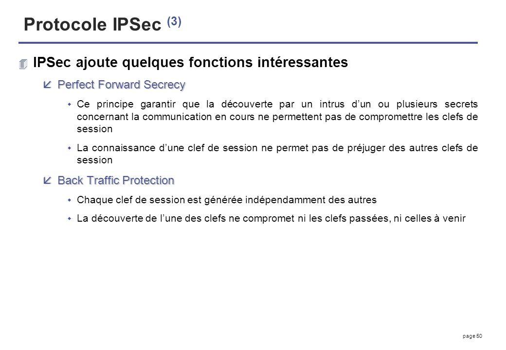 Protocole IPSec (3) IPSec ajoute quelques fonctions intéressantes