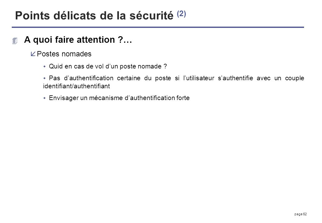 Points délicats de la sécurité (2)