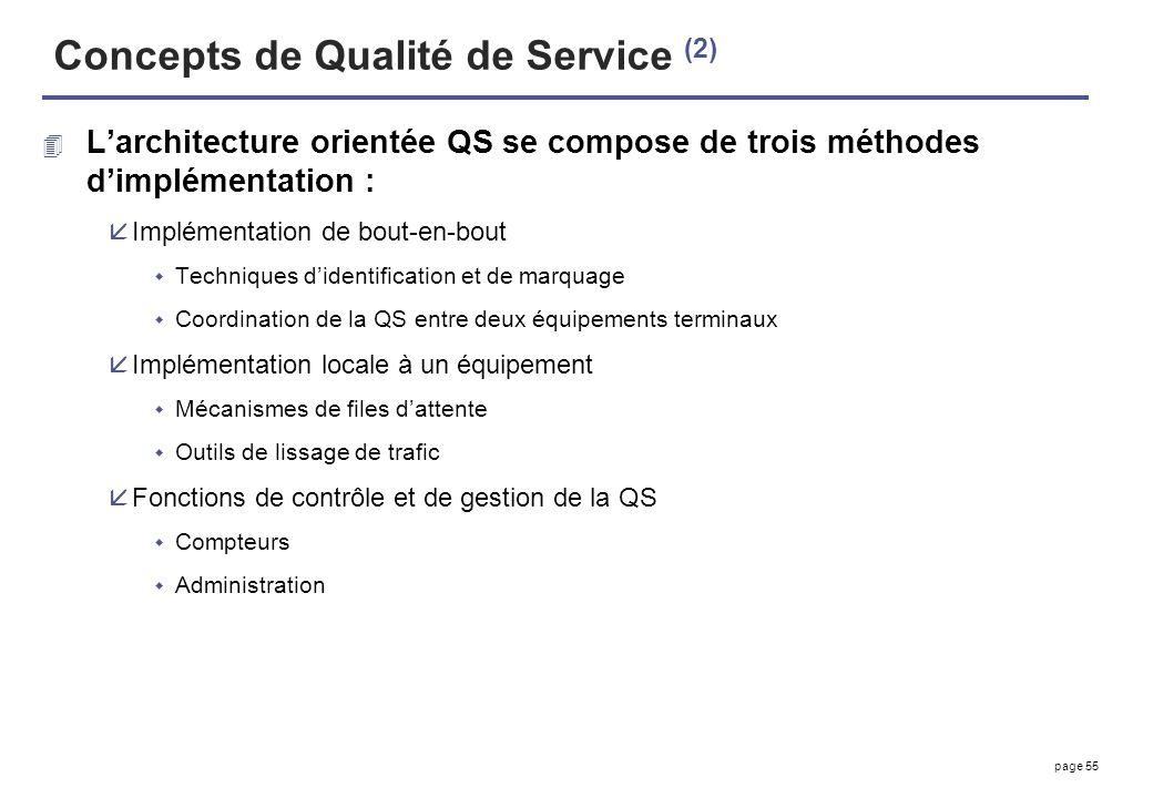 Concepts de Qualité de Service (2)