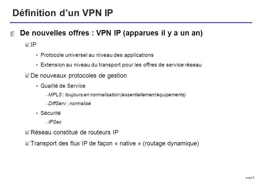 Définition d'un VPN IP De nouvelles offres : VPN IP (apparues il y a un an) IP. Protocole universel au niveau des applications.