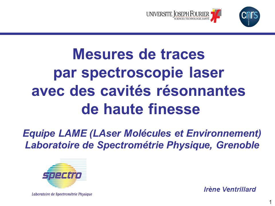 Mesures de traces par spectroscopie laser avec des cavités résonnantes de haute finesse