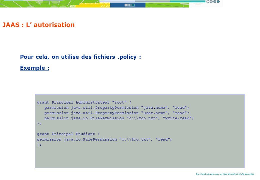 JAAS : L' autorisation Pour cela, on utilise des fichiers .policy :