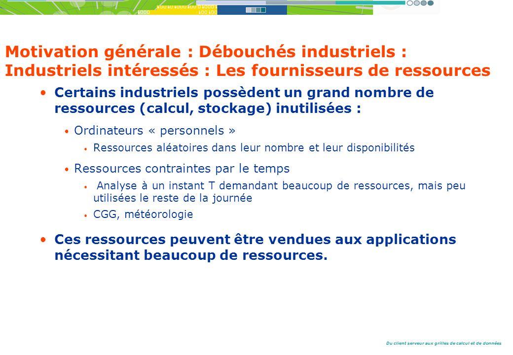 Motivation générale : Débouchés industriels : Industriels intéressés : Les fournisseurs de ressources