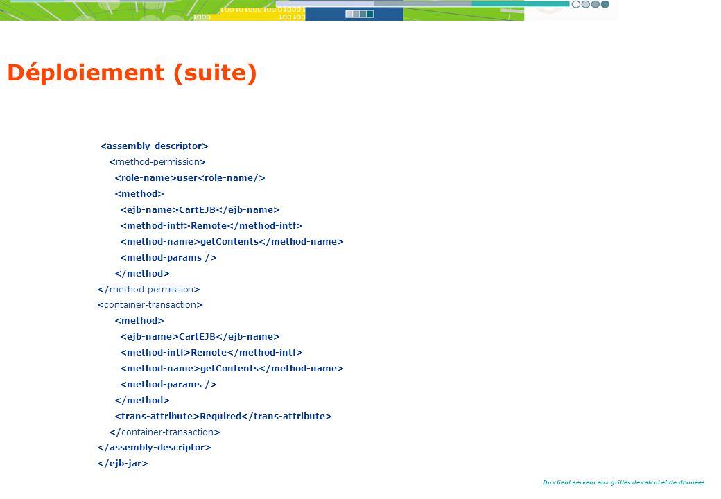 Déploiement (suite) <assembly-descriptor>