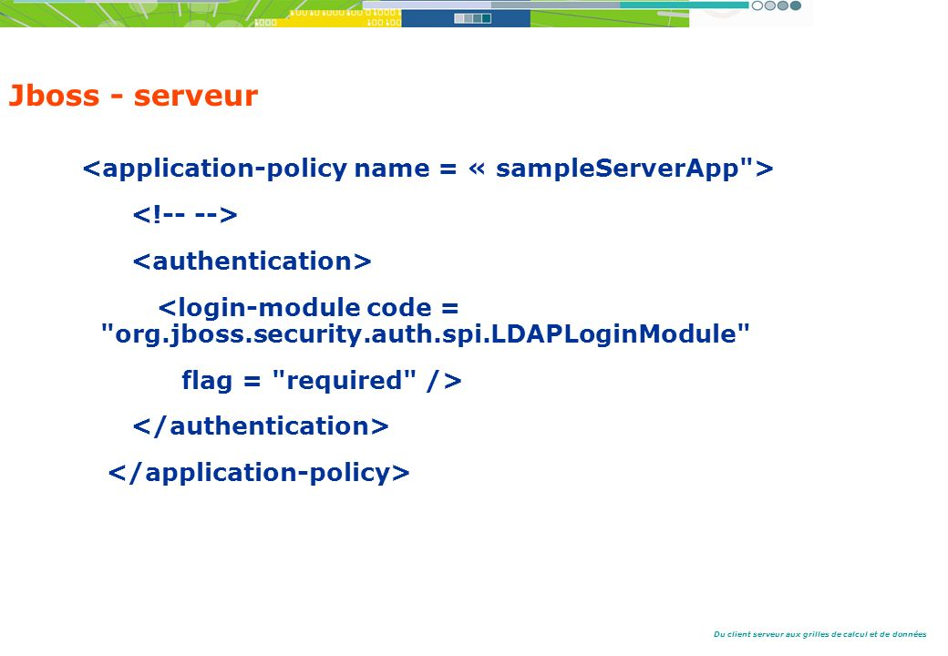 Jboss - serveur <application-policy name = « sampleServerApp >