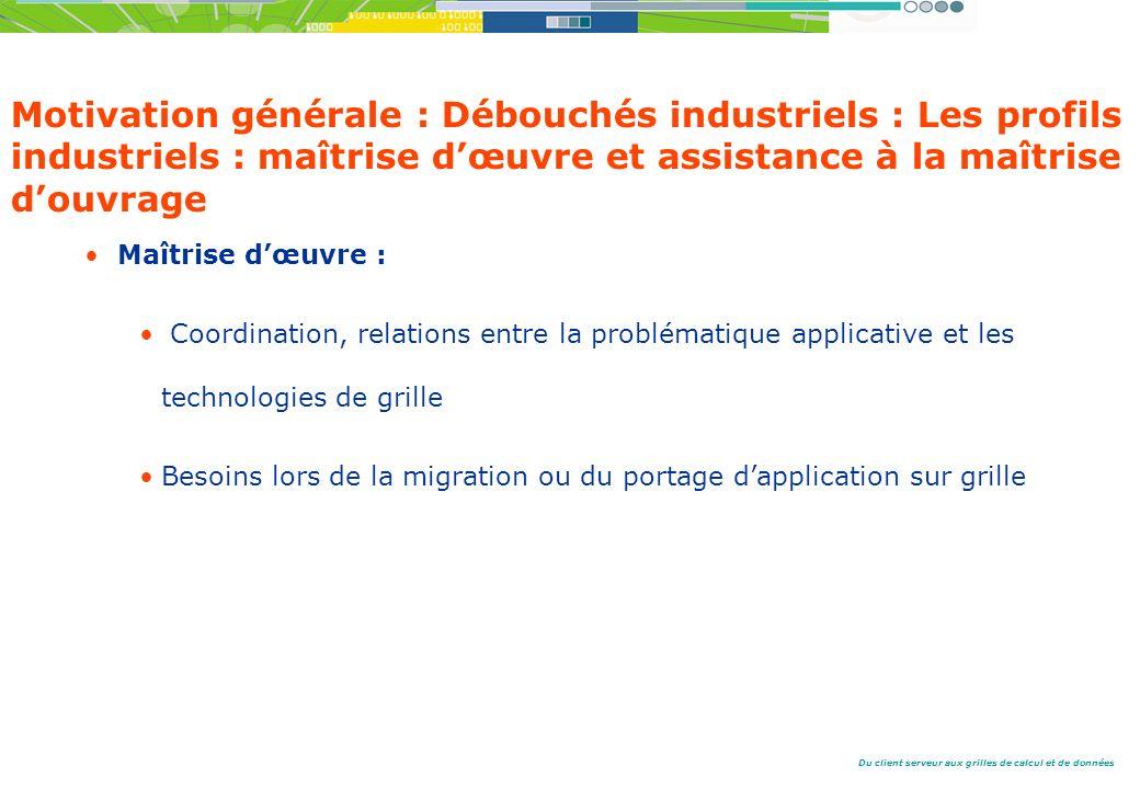 Motivation générale : Débouchés industriels : Les profils industriels : maîtrise d'œuvre et assistance à la maîtrise d'ouvrage