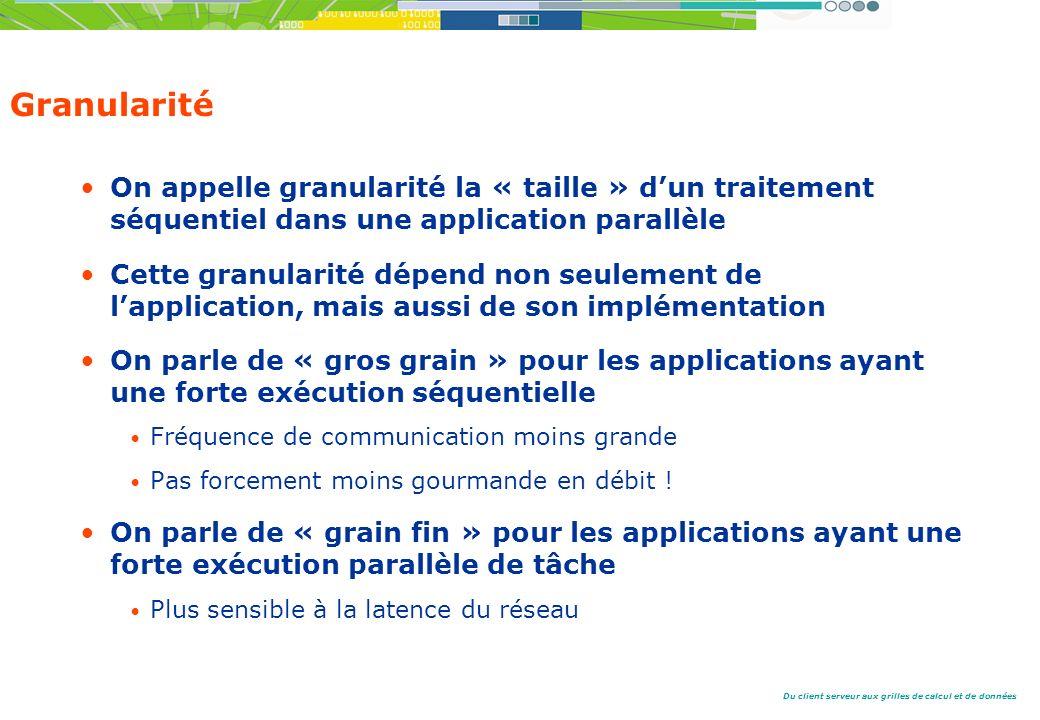 Granularité On appelle granularité la « taille » d'un traitement séquentiel dans une application parallèle.