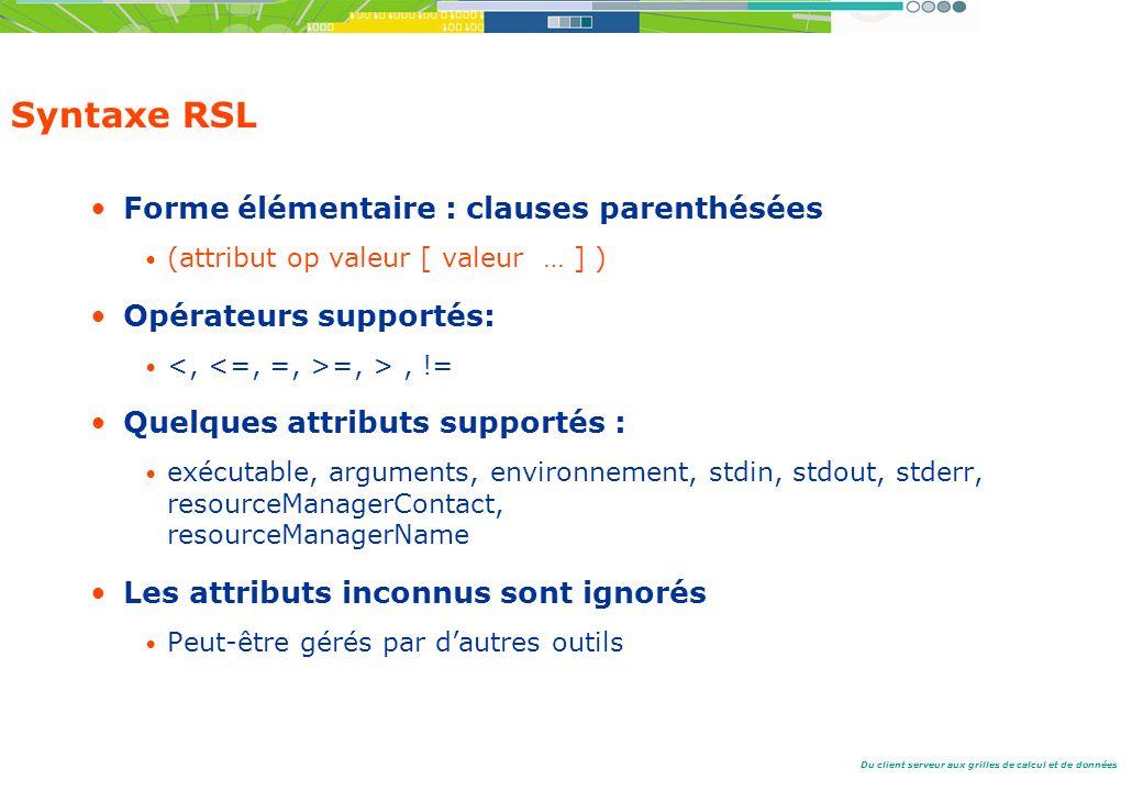 Syntaxe RSL Forme élémentaire : clauses parenthésées