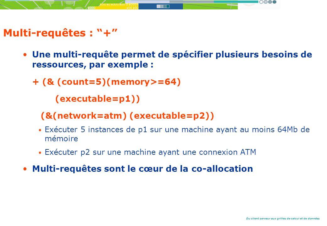 Multi-requêtes : + Une multi-requête permet de spécifier plusieurs besoins de ressources, par exemple :