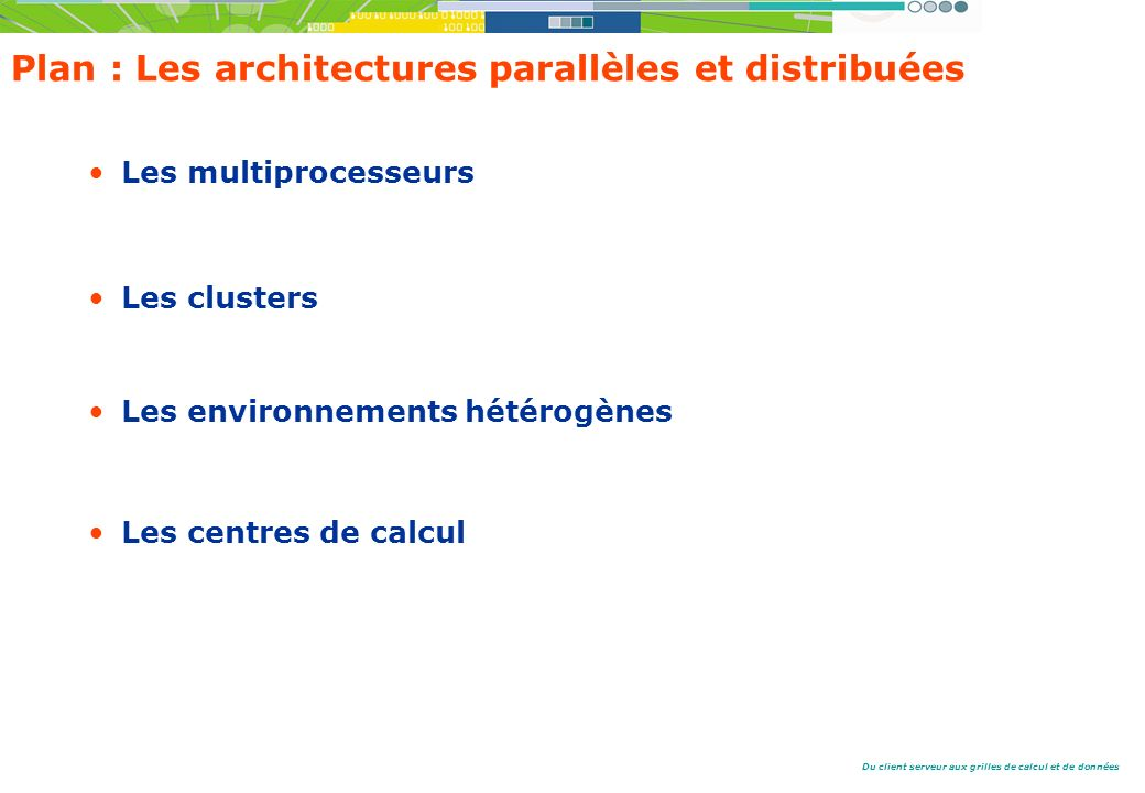 Plan : Les architectures parallèles et distribuées