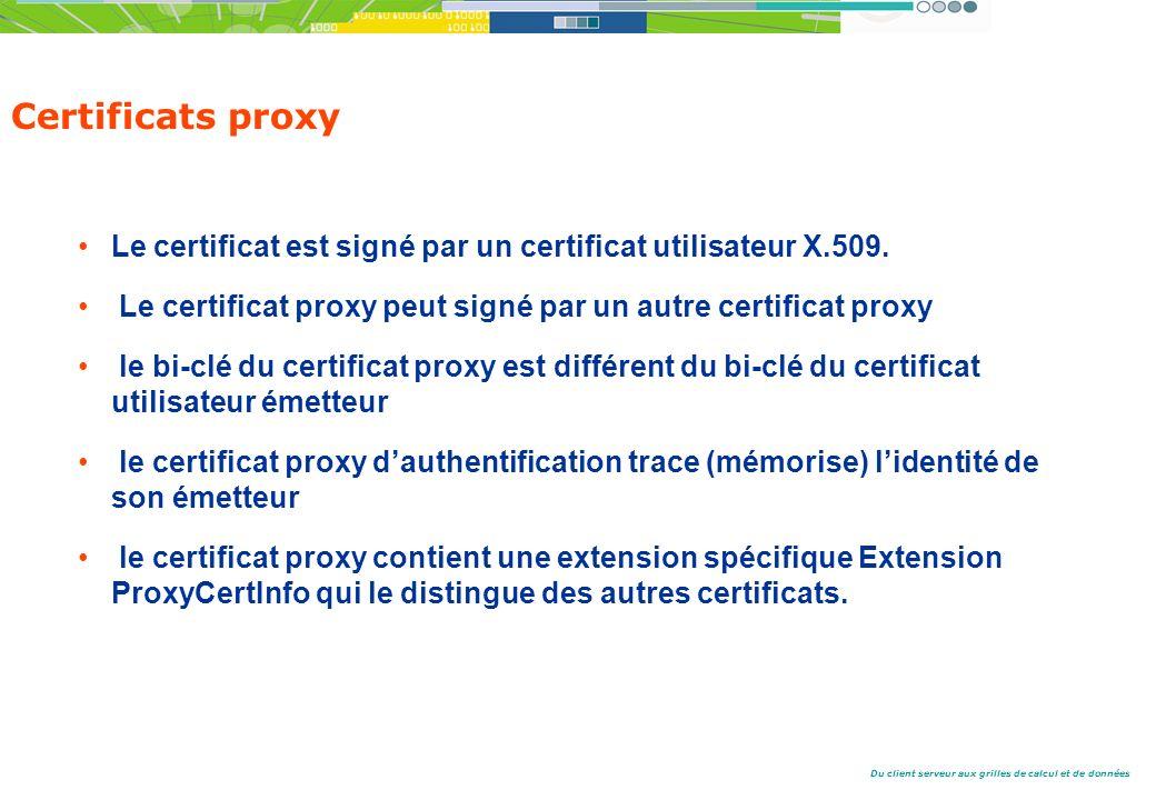 Certificats proxy Le certificat est signé par un certificat utilisateur X.509. Le certificat proxy peut signé par un autre certificat proxy.