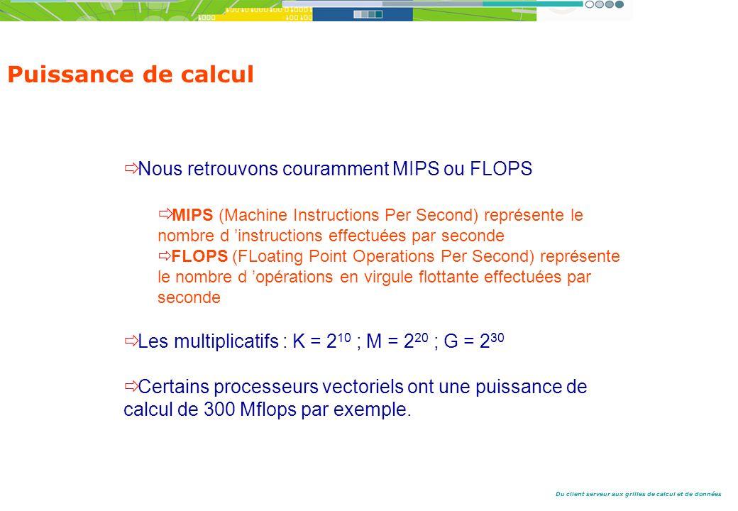 Puissance de calcul Nous retrouvons couramment MIPS ou FLOPS