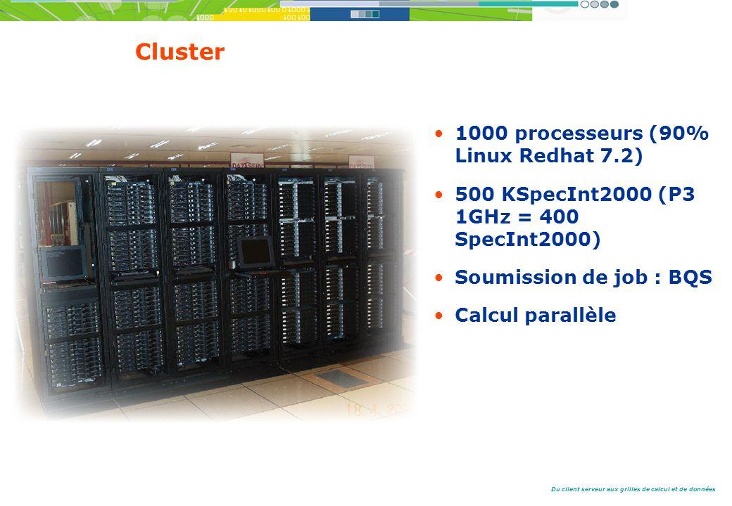 Cluster 1000 processeurs (90% Linux Redhat 7.2)