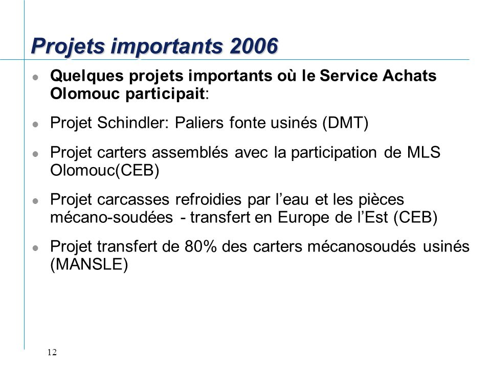 Projets importants 2006 Quelques projets importants où le Service Achats Olomouc participait: Projet Schindler: Paliers fonte usinés (DMT)