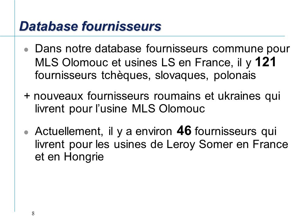 Database fournisseurs