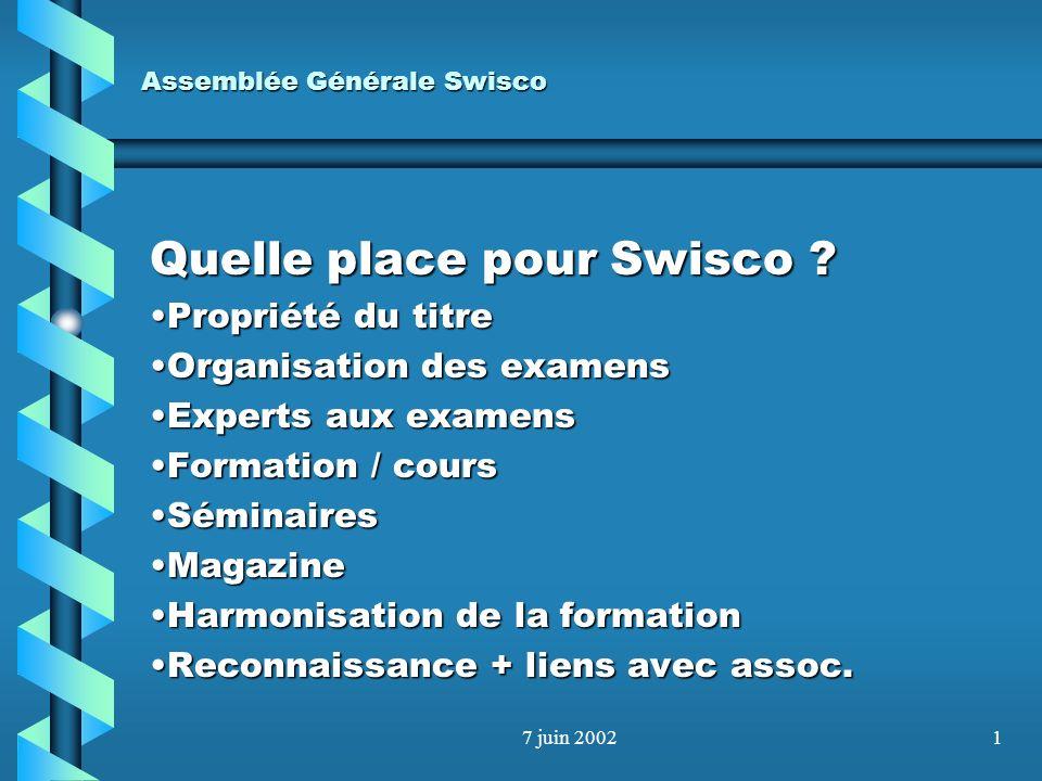 Assemblée Générale Swisco