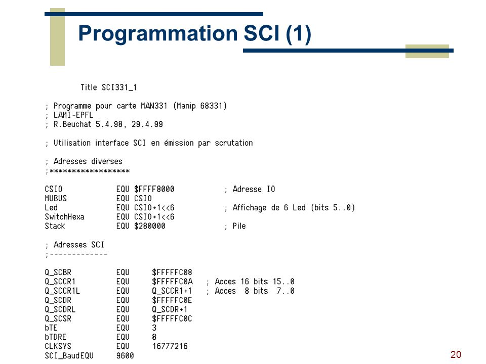 Programmation SCI (1) RB - 2002