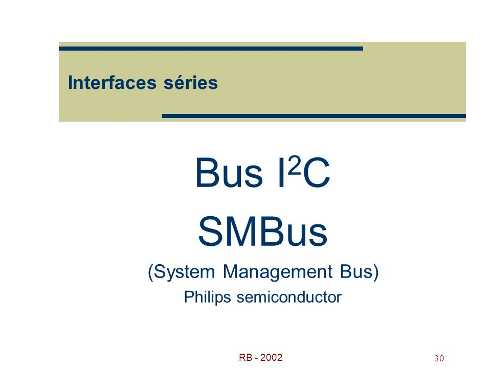 Bus I2C SMBus (System Management Bus) Philips semiconductor