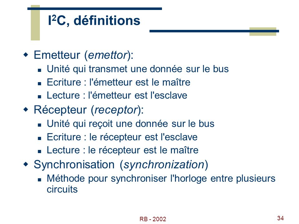 I2C, définitions Emetteur (emettor): Récepteur (receptor):