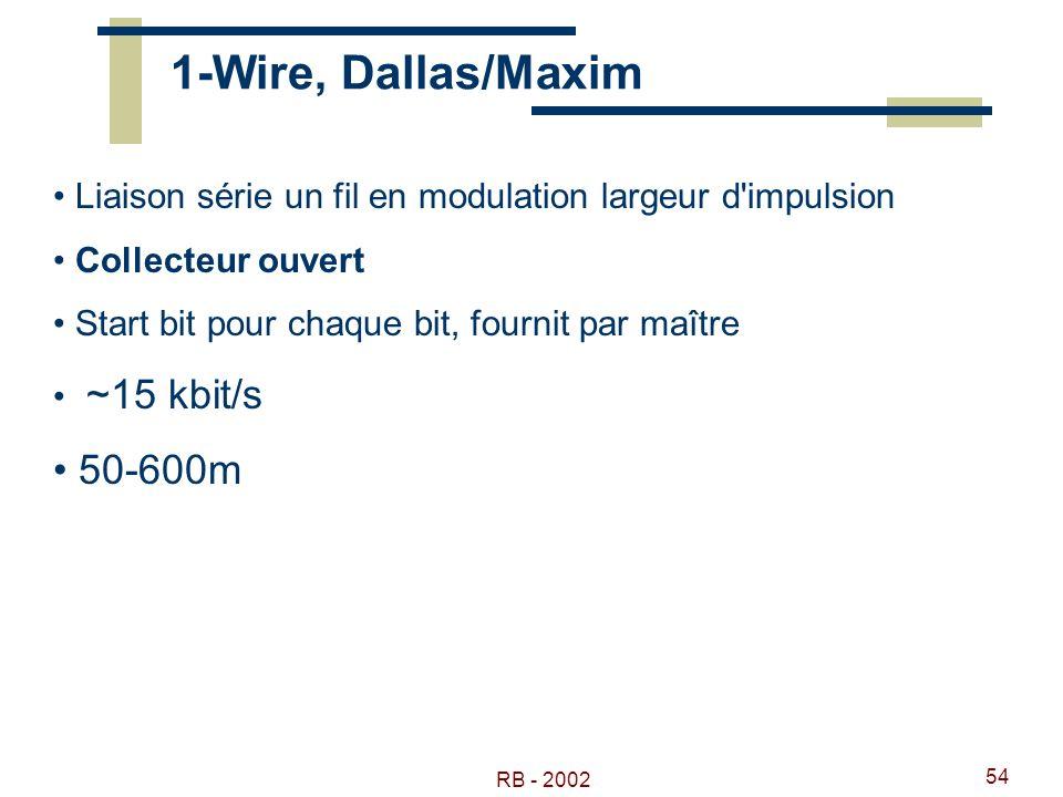 1-Wire, Dallas/Maxim Liaison série un fil en modulation largeur d impulsion. Collecteur ouvert. Start bit pour chaque bit, fournit par maître.