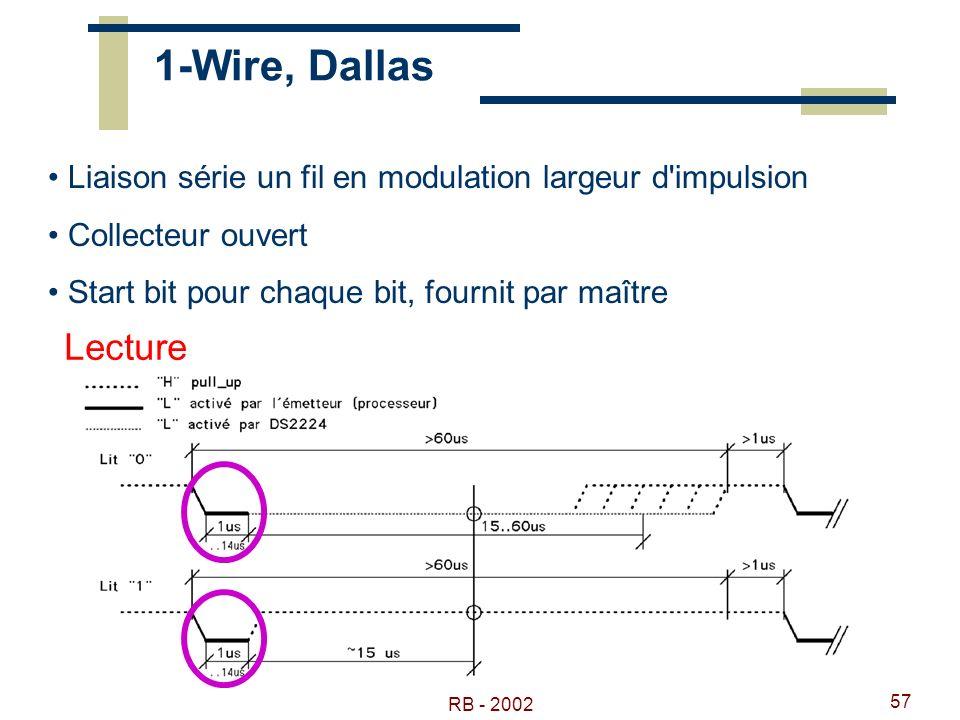 1-Wire, Dallas Liaison série un fil en modulation largeur d impulsion. Collecteur ouvert. Start bit pour chaque bit, fournit par maître.