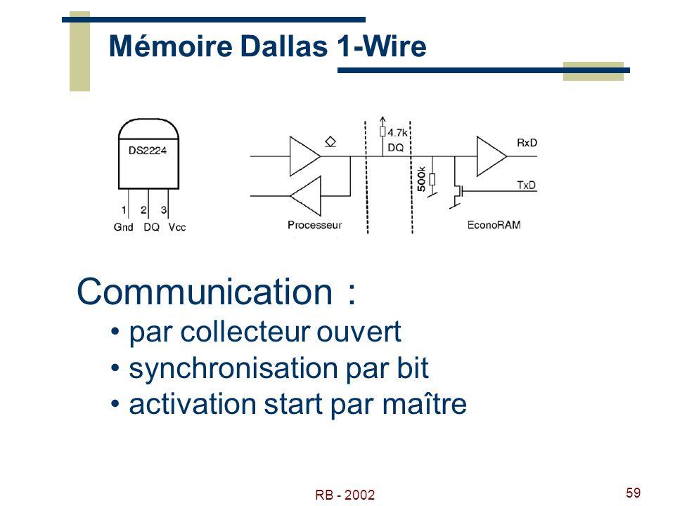 Communication : Mémoire Dallas 1-Wire par collecteur ouvert