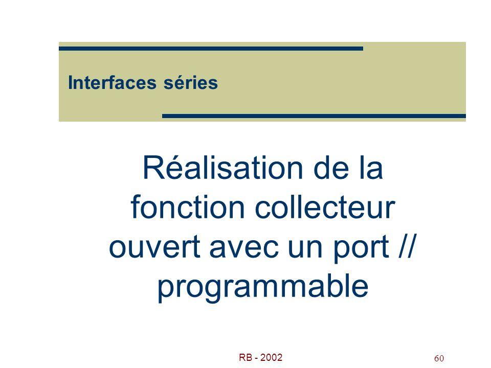Interfaces séries Réalisation de la fonction collecteur ouvert avec un port // programmable.