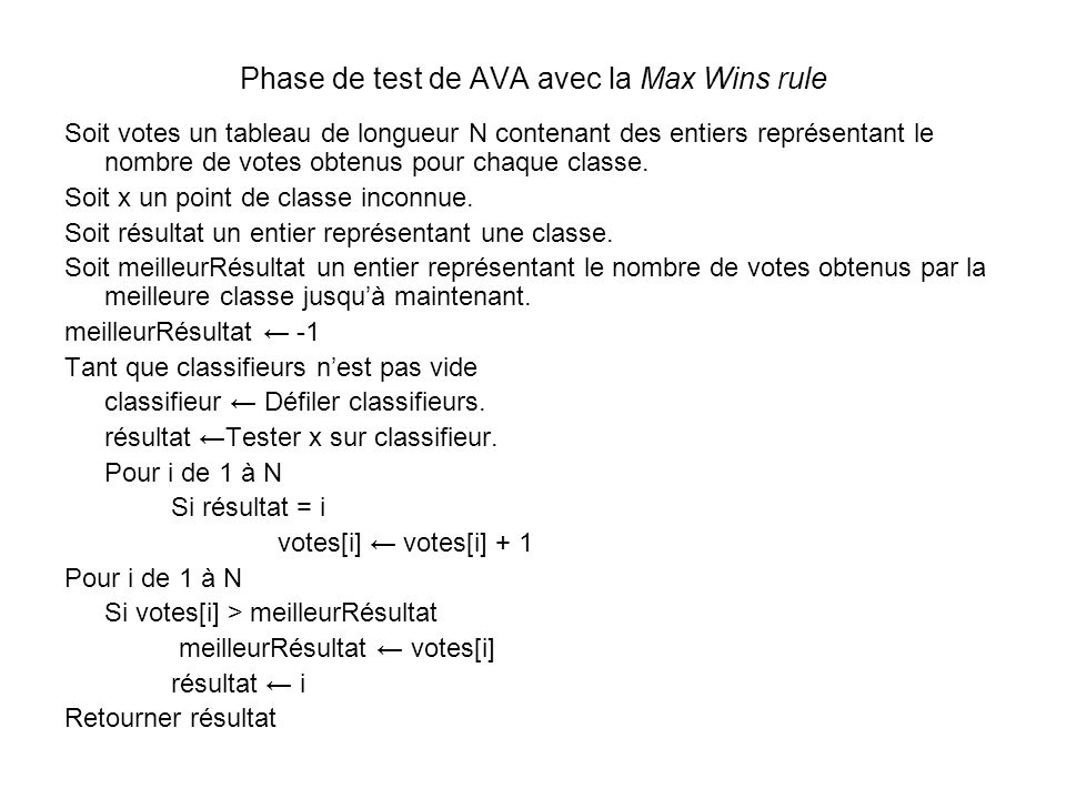 Phase de test de AVA avec la Max Wins rule