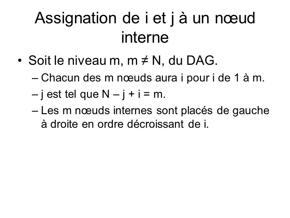 Assignation de i et j à un nœud interne