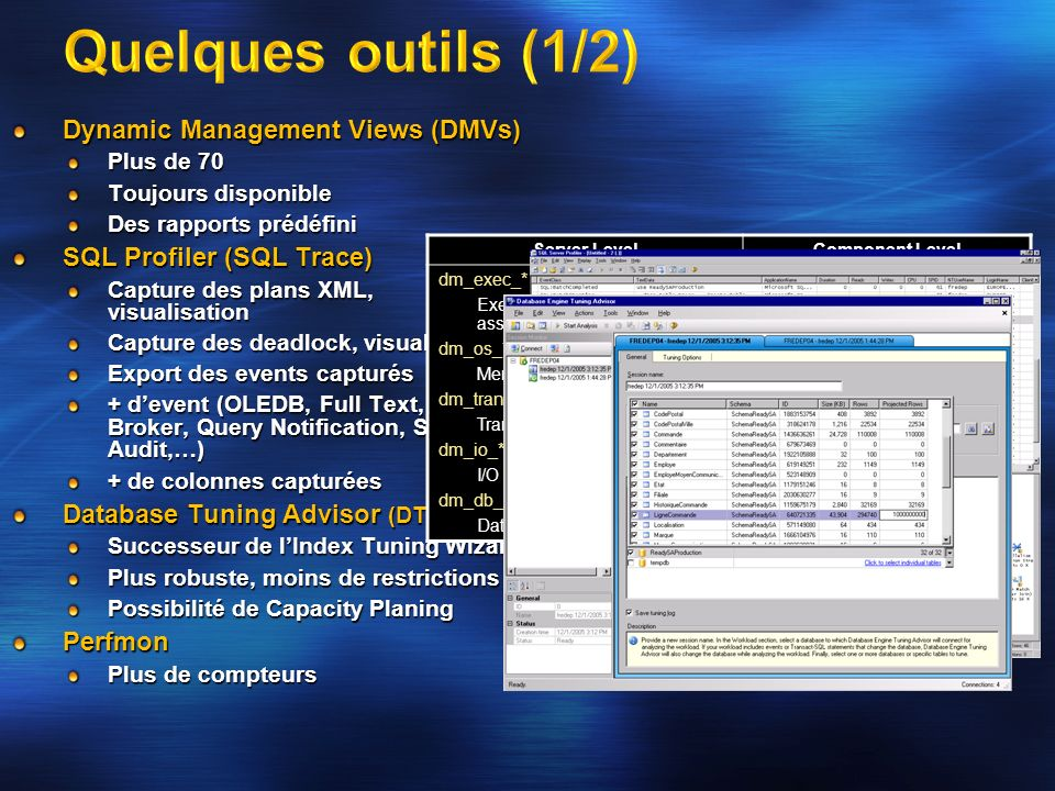 Quelques outils (1/2) Dynamic Management Views (DMVs)