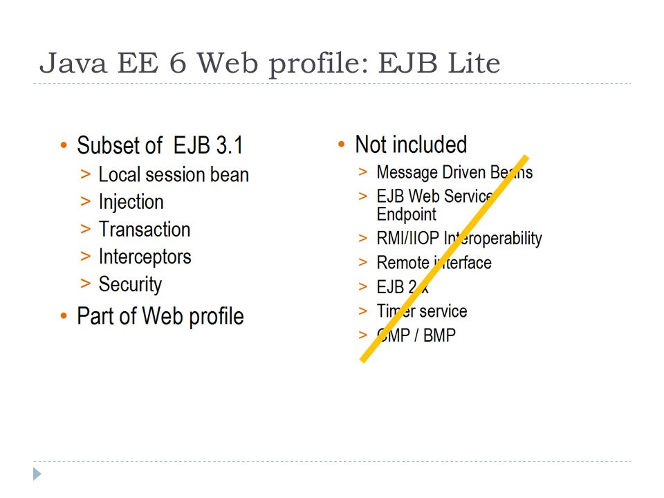 Java EE 6 Web profile: EJB Lite