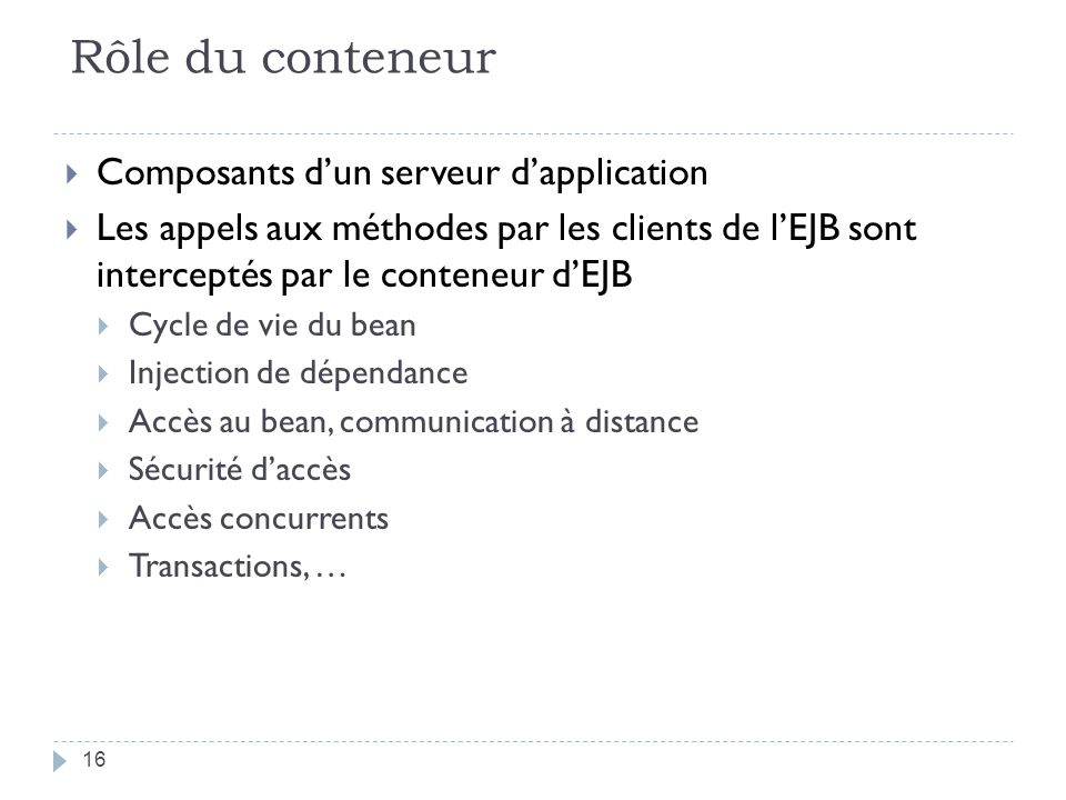 Rôle du conteneur Composants d'un serveur d'application