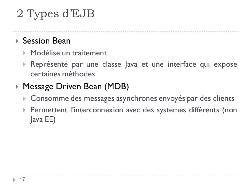 2 Types d'EJB Session Bean Message Driven Bean (MDB)
