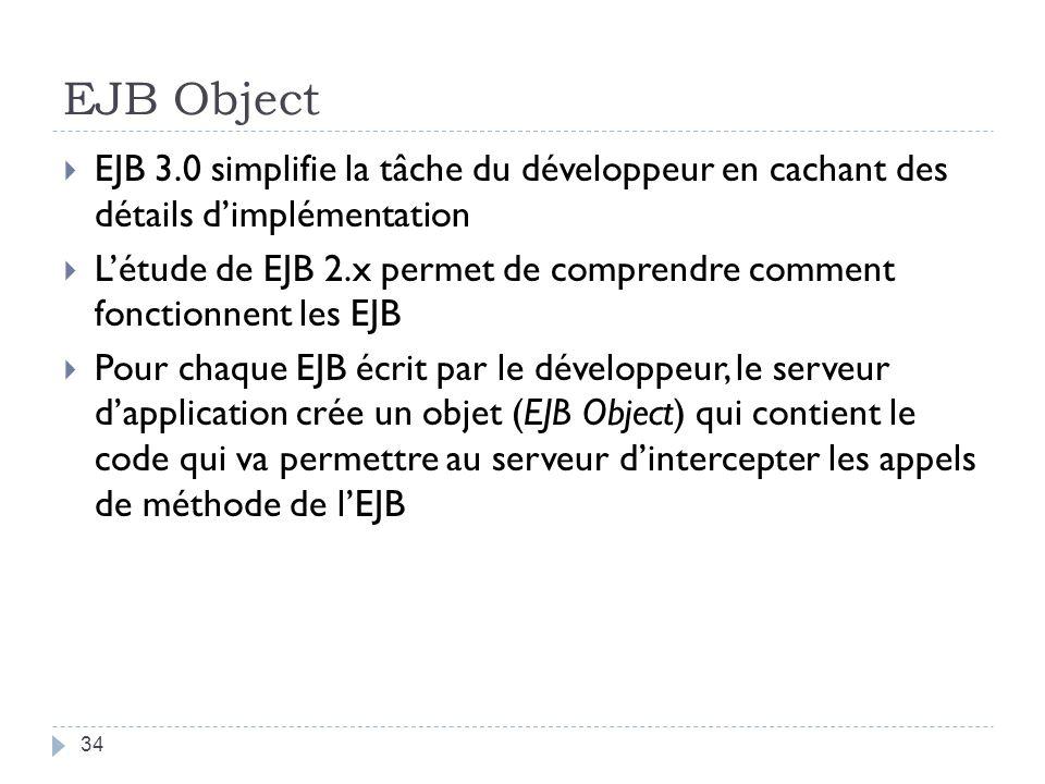 EJB Object EJB 3.0 simplifie la tâche du développeur en cachant des détails d'implémentation.