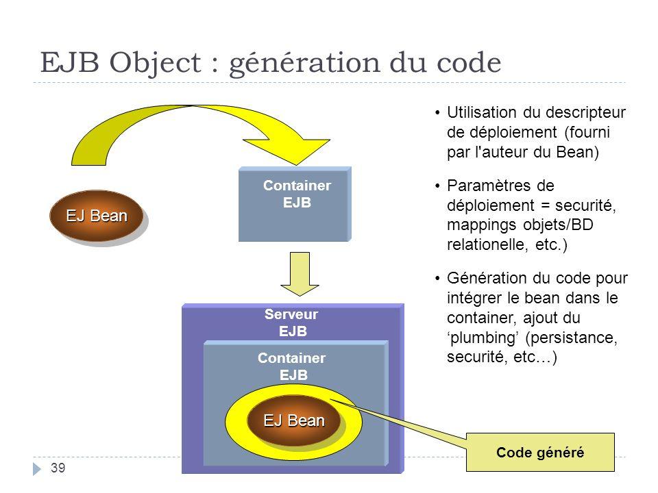 EJB Object : génération du code