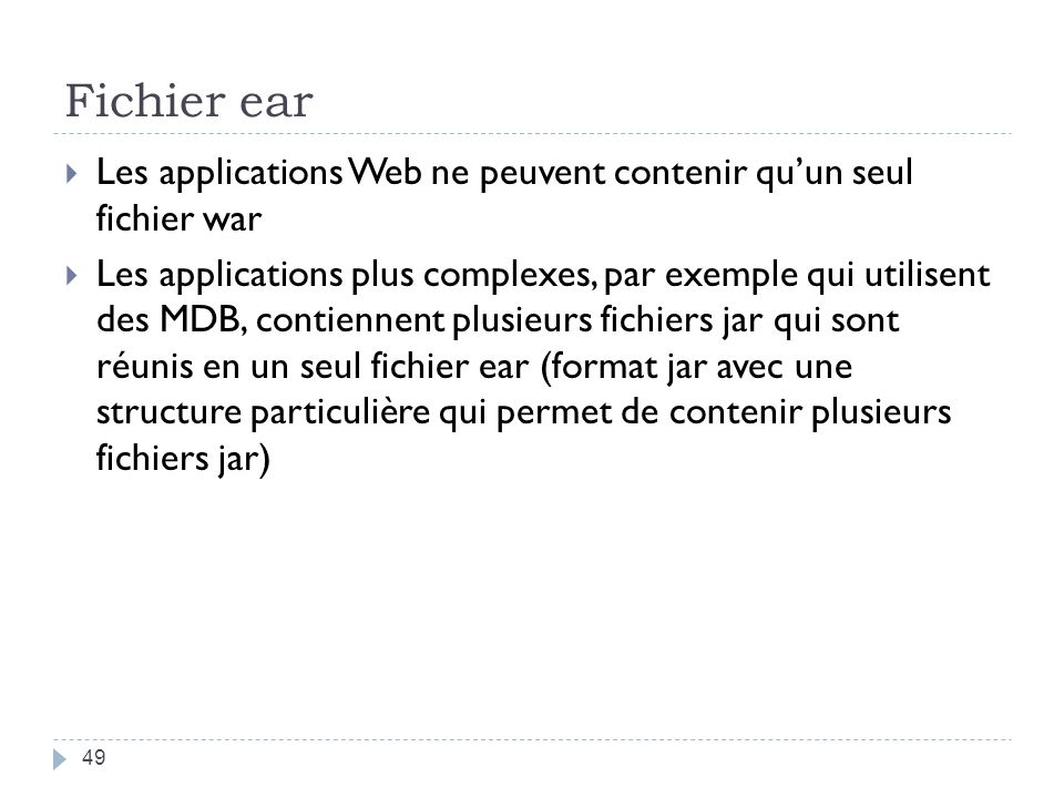 Fichier ear Les applications Web ne peuvent contenir qu'un seul fichier war.