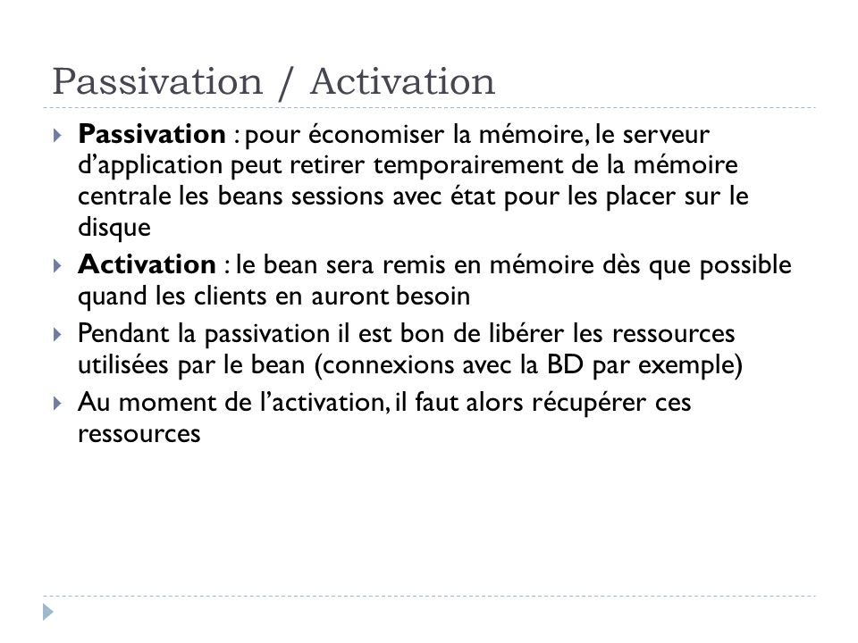 Passivation / Activation