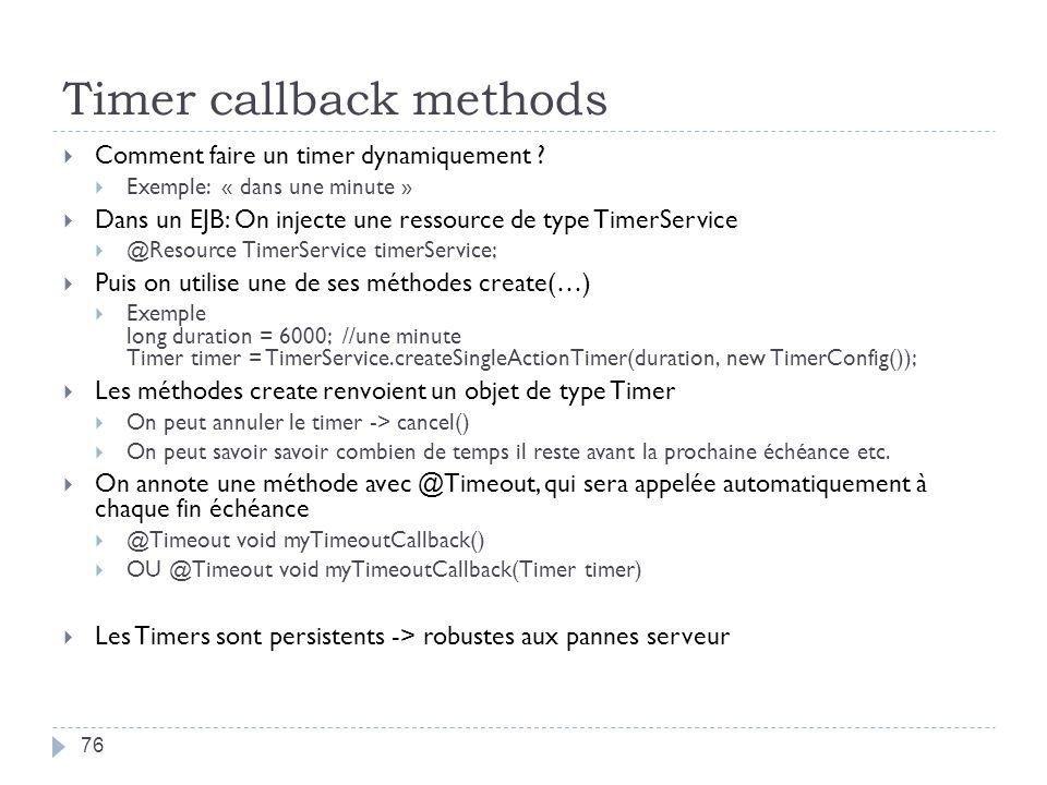 Timer callback methods