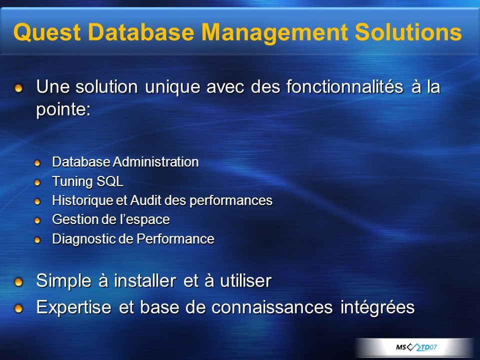 Quest Database Management Solutions