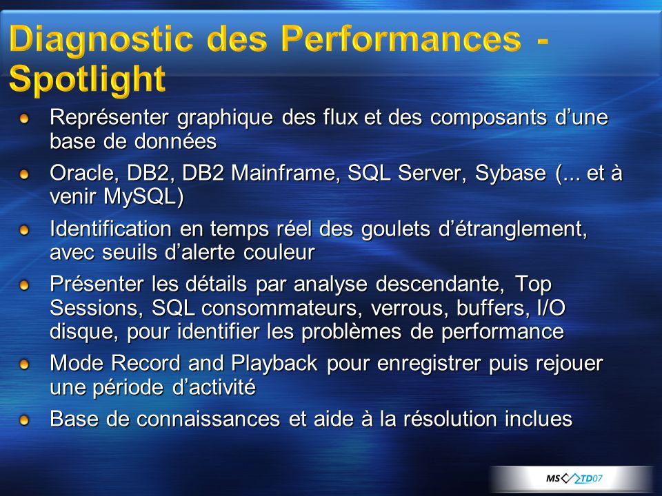Diagnostic des Performances - Spotlight